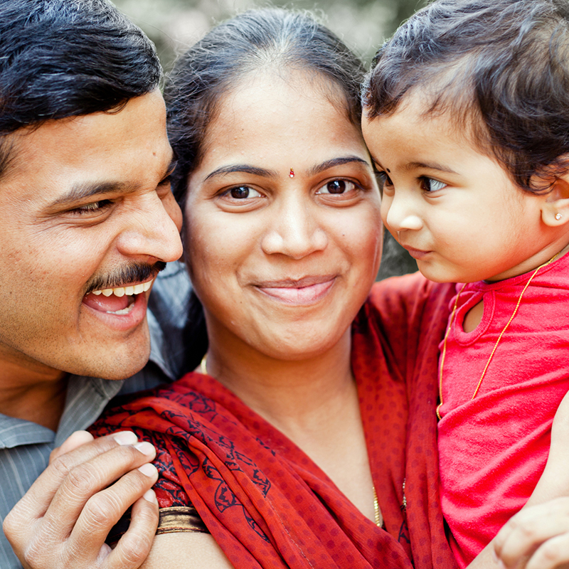 Happy indian family smiling