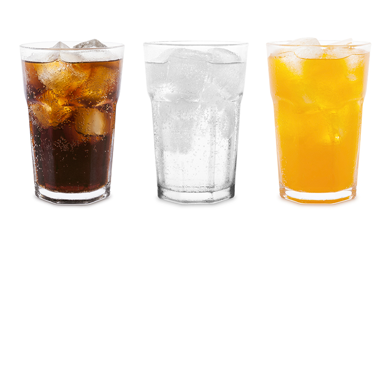 Three glasses with different carbonated drinks
